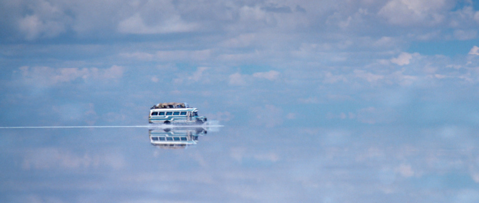 Optimism in action as a Bolivian bus crosses a flooded high plain. M Rogers / UNEP / Still Pictures