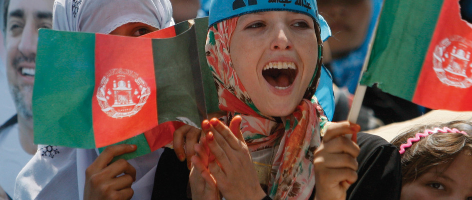 Afghan women at rally for Abdullah Abdullah, presidential candidate in the August 2009 elections.