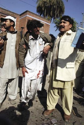Under attack: members of the Peshawar Press Club, December 2009.