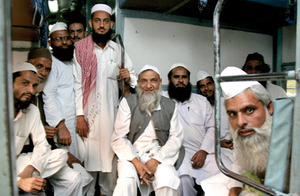 Peace train: Muslim clerics make a symbolic journey to promote communal harmony.Photo: SHAILENDRA PANDEY / TEHELKA