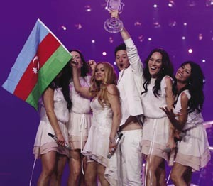 Last year's winners, Azerbaijan – creating more of a furore than they could have imagined.AP Photo / Frank Augstein