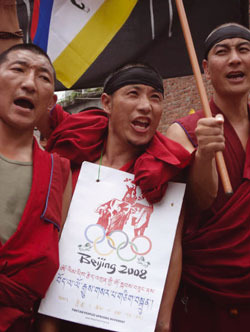 Monks demonstrating in Dharamsala, northern India, at the time of the Olympic Games in Beijing. Photo: Nick Harvey