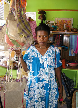 Bags of initiative: women's co-operative coordinator Nadia, on North Ambae island.Photo: Anna Hutchens