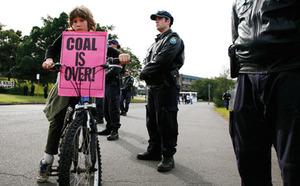 On yer bike! A clear message was given to coal companies at Australia's climate camp in July.Photo by: CONOR ASHLEIGH