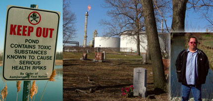 Aamjiwnaang activist and 'toxic tour' guide Ron Plain (right). The Chippewa community's cemetery flanked by petro-chemical plants (centre). A warning sign (left) beside a pond on the native reserve – the land is laced with poisons from decades of pollution and spills.