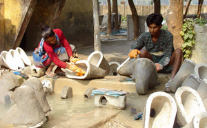 New facilities, new jobs. A toilet production centre in West Bengal. Photo: UNICEF WEST BENGAL