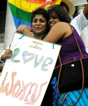 A happy couple from the fantastically successful first Gay and Lesbian Pride March in Bengaluru (Bangalore) on 29 June 2008.Siddharth Narrain