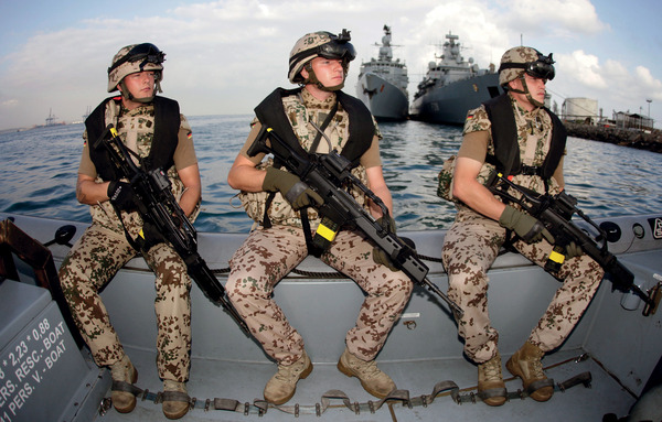 Pirate patrol: German troops in Djibouti prepare to join Europe's anti-piracy mission in the Gulf of Aden, off Somalia.  The fight against pirates has been a handy way for countries like Germany and Japan to shrug off postwar constitutional constraints.