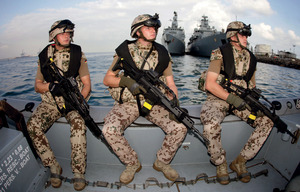 Pirate patrol: German troops in Djibouti prepare to join Europe's anti-piracy mission in the Gulf of Aden, off Somalia.  The fight against pirates has been a handy way for countries like Germany and Japan to shrug off postwar constitutional constraints.Hannibal Hanschke/Reuters