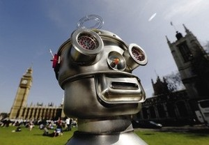 A Terminator in Whitehall, 2030? Campaigners call for a ban on autonomous weapons at a recent London protest.
