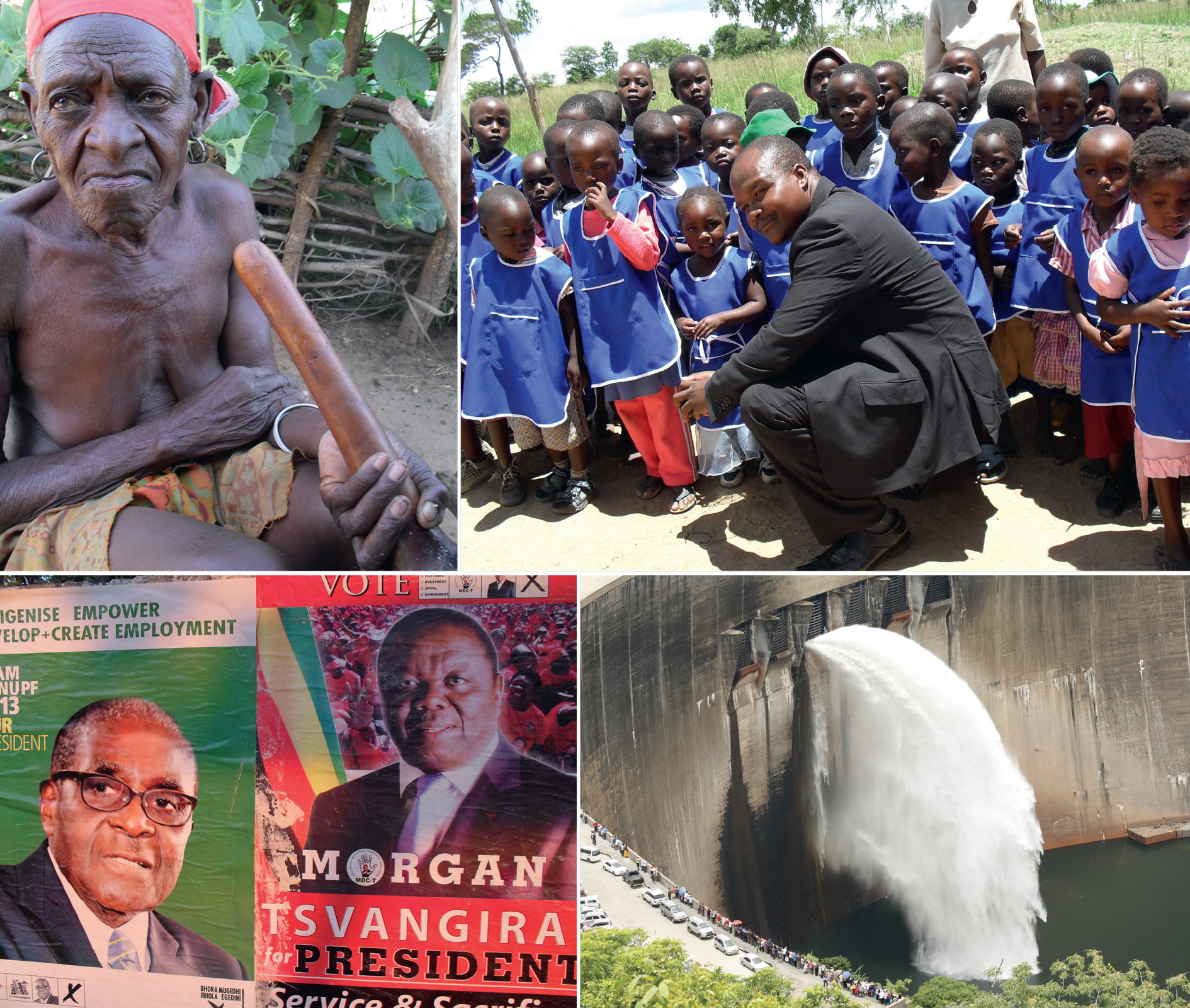 Clockwise from top left: 78-year-old Esnaath Chilabala, from Binga in the province of Matabeleland North; ZANU PF MP Godfrey Gandawa with primary schoolchildren in Katenhe; the Kariba dam for hydroelectric power, which is shared by Zimbabwe and Zambia; rival election posters for Mugabe and Tsvangirai.