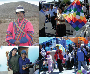 Clockwise from top left: Traditional communities have become more organized in recent years – Victor Ara is an elected leader of one in Potosí; this woman carrying the wiphala – a flag of indigenous unity – waits for Evo Morales to speak at a rally in Santa Cruz; at more than 4,000 metres above sea level, El Alto is probably the highest and largest open-air market in the world; musician Adrián Villanueva (right) with a young relative in his La Paz home.Photos: Vanessa Baird
