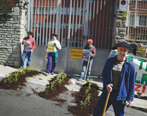 Protesters plant leeks outside a military building in the Basque Country, northern Spain, in solidarity with occupations in the south.