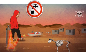 Frack apocalypse in an animation for a rap track produced by South Africa's Treasure Karoo Action Group.