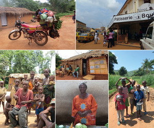 Clockwise from top left: Motor bikes are a common way of travelling across the country – this one is in the southwestern rainforest region of Lobaye; the Grand Café is a popular meeting place in Bangui's centre ville; children taking their lunch plates to school; women run most of the stalls in Bangui's central market; Ba-aka forest people live in isolated settlements in the rainforest, where they maintain their indigenous beliefs; (centre) a local generator-run cinema in the countryside.
