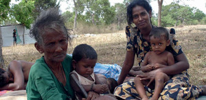 Three generations of a Tamil family internally displaced.