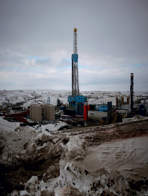 Impure as the driven snow: a fracking site for extracting oil outside Williston, North Dakota, in March this year.