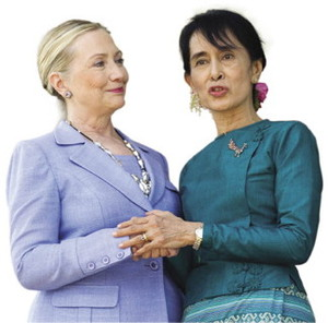 A sign of hope? US Secretary of State Hillary Clinton visited Burma – and Aung San Suu Kyi – in November 2011.Saul Loeb / Pool / Reuters