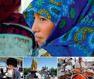 Woman on a bus in the desert city of Mary (dbimages / Alamy). The two outside shots at the bottom are from the Tolkuchka Bazaar in the capital, Ashgabat. Sandwiched between them is the self-glorifying golden statue erected by the former dictator Saparmurat Niyazov.Photos by David Stanley, the last three under a CC Licence.