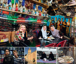 A traditional teahouse in Isfahan; jeans sellers in Isfahan; a street scene in Jolfa, East Azerbaijan province; women picnicking by the roadside in Shiraz (see main text); selling fish in Kermanshah.
