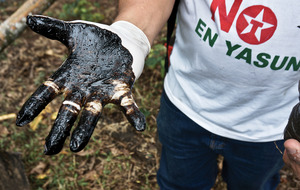 A toxic hangover: Donald Moncayo's farmland has been contaminated by Texaco's oil extraction in Ecuador.