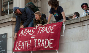 Demonstrators get straight to the point in September this year, when protesting against the Defence & Security Equipment International arms fair that drew 1,300 arms companies to London this year to hawk their wares to buying delegations from around the world.