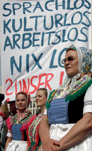 'No language, no culture, no job, no nothing: our fate': members of the Sorb community in eastern Germany take their message to Berlin.