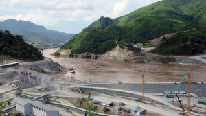 The point of no return? Construction of the Xayaburi dam is well under way, despite fierce opposition.Photo: Tom Fawthrop