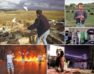 Clockwise from top left. A boy releases his racing pigeons from the high walls above the Kurdish city of Diyarbakir; a young shepherd tending his flock near the Iraqi border; a shop on the outskirts of Istanbul selling clothes bearing the logo of ISIS/Islamic State; a passionate moment during the filming of a popular TV drama, with the Bosphorus Bridge illuminated in the background; a demonstrator poses in front of a burning barricade built to stop police reaching Taksim Square during the anti-government demonstrations in Istanbul in 2013.Photos by Guy Martin / Panos Pictures
