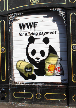 Street artist bustart visualizes some of WWF's corporate connections (as revealed by the Pandaleaks website) on a shutter in Amsterdam. The title is a reference to the WWF's Living Planet report.