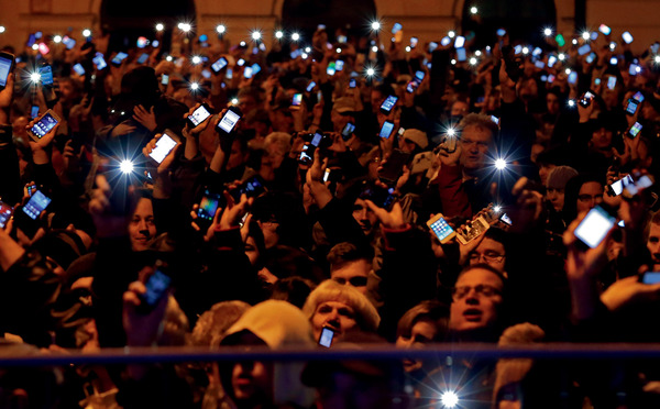 New laws to restrict internet freedom through taxation brought thousands onto the streets of Budapest in late 2014. Laszlo Balogh / Reuters