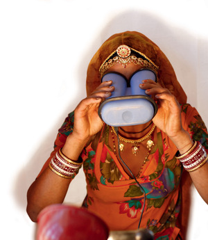 A villager has her eyes scanned for India's massive biometric ID programme.