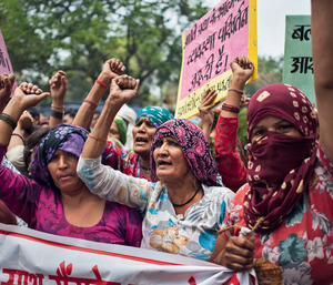 Dalit women protest against the gang-rape of four girls.