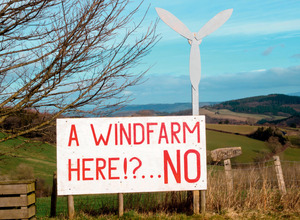 A clear view: Sign on the site of a proposed windfarm in Herefordshire, England.Photo: Alex Ramsay / Alamy