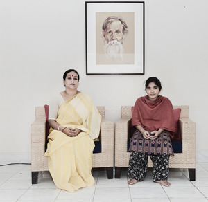 Nasima Khan (left) with her home servant Sokina.