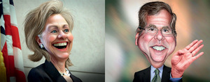 Hillary Clinton and Jeb Bush – keen to get their feet under the Oval Office table.DonkeyHotey under a CC Licence