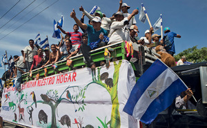 Not on our land: Nicaraguan farmers protest against the proposed canal.Photo: Esteban Felix/AP/Press Association Images