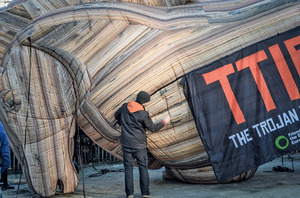 Deflating TTIP: Friends of the Earth inflate a Trojan Horse outside European Union headquarters in Brussels.