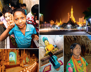 Clockwise from top left: Burmese schoolchildren enjoy a visit to a temple complex in Mrauk U, Rakhine State; night traffic races around the golden Sule Paya in downtown Ragoon, increasingly dwarfed by new buildings; a Naga woman stands in front of her home in San Ton Village, Nagaland; a woman prays at a temple in Mrauk U, Rakhine State (recently the site of violent ethnic clashes); dusk falls at Shwedagon Pagoda, one of the most important Buddhist sites in Burma.