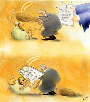 'Thou Shalt Not Kill' by French cartoonist Bernard Bouton.