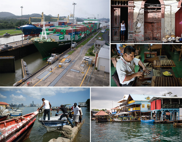 Clockwise from top left: A container ship navigates Miraflores Lock, the first of three locks on the Panama Canal. A woman looks out from a doorway in Panama City's old quarter, Casco Viejo. A worker at the Cigarros Joyas de Panama factory in La Pintada rolls a cigar. Wooden houses along the seashore of the island of Bocas del Toro. Fishers board their boats in Panama City's harbour; the city skyline is visible in the background.