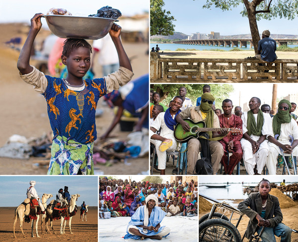 Top left and bottom right: Girl washing clothes and boy waiting for porting work at Segou, on the Niger River. Centre right and bottom middle: Concertgoers and a dancer in Timbuktu. Top right: Looking north across the old bridge across the Niger in the capital, Bamako. Bottom left: Camel riders at the Festival in the Desert held at Tin Essako in the northeast.