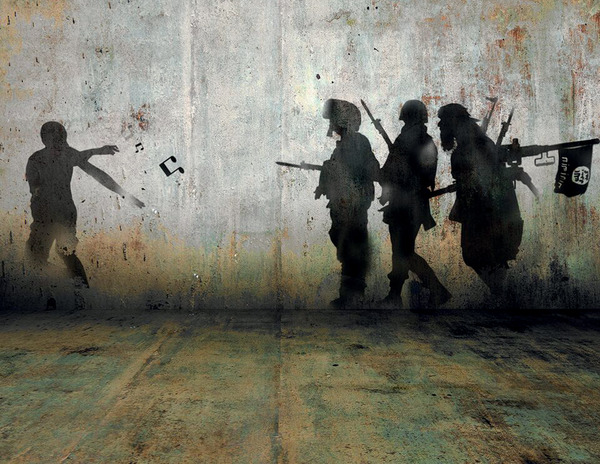 Syrian artist Tammam Azzam celebrates the power of creative protest in this digital artwork titled 'Demonstration'.