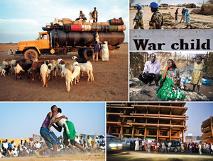 Clockwise from top left: Loading sheep onto a truck crossing the desert in the Kordofan region of central Sudan. UN peacekeepers patrolling through Nyoro, in 