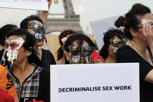 Sex workers take to the streets in Paris, July 2015.