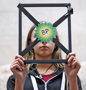 Drowned out by big oil: 13-year-old Laurel from Children Against Global Warming performs inside the BP-sponsored British Museum in September 2015, as part of the growing movement against oil sponsorship.Photo: Natasha Quarmby / Art Not Oil