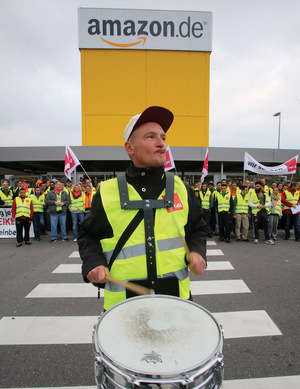 Listen up! Amazon employees in Germany have been demanding recognition of a collective wage agreement.