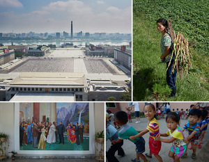 Top left: A view of the capital, Pyongyang, showing schoolchildren practising for the National Day parade in Kim Il-Sung Square, with the Juche Tower and a large new LCD screen in the distance.  Top right: A woman from a rural workgroup just north of Pyongyang. Bottom right: Performing for foreign visitors in a rural kindergarten. Bottom left: A typical propaganda image – most North Koreans retain the sense that their leaders are admired abroad as well as at home.