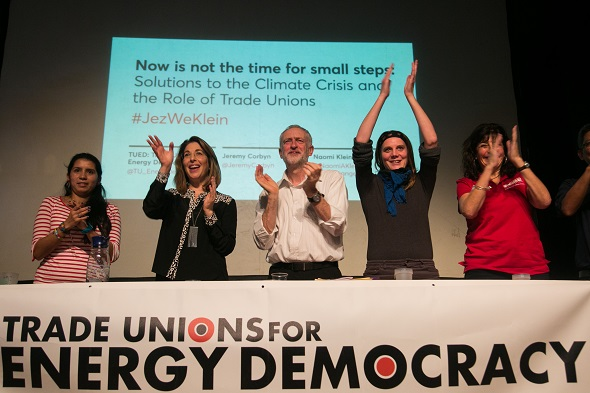 The panel is cheered by a full house after the event. A panel of speakers, amongst others, British Labour party leader Jeremy Corbyn and author Naomi Klein speak at an event organized by The Trade Unions for energy Talks in Paris, coinciding with the COP21.