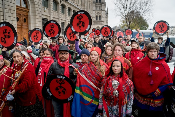 Indigenous bloc at 'red lines' actions, Paris, France, 12 December 2015.